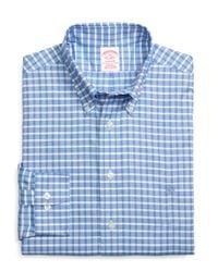 Brooks Brothers - Blue Non-iron Regent Fit Slub Check Sport Shirt for Men - Lyst