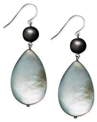 Macy's - Metallic Pearl Earrings, Sterling Silver Cultured Freshwater Pearl And Black Mother Of Pearl - Lyst