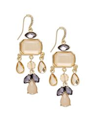 INC International Concepts - Natural Goldtone Blush and Black Diamond Stone Chandelier Earrings - Lyst