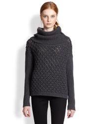 Alice + Olivia - Gray Turtleneck Chunky Sweater - Lyst