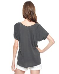 Splendid - Gray Vintage Whisper Rolled Cuff Top - Lyst