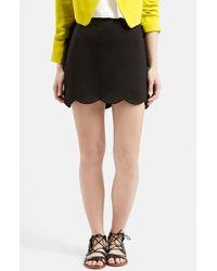 TOPSHOP - Black Scallop Hem Miniskirt - Lyst