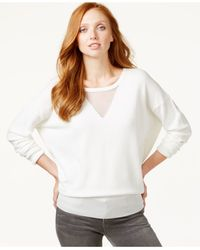 Calvin Klein Jeans | White Sheer-neck Long-sleeve Top | Lyst