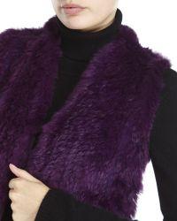 Qi - Purple Petite Real Fur Front Cashmere Vest - Lyst