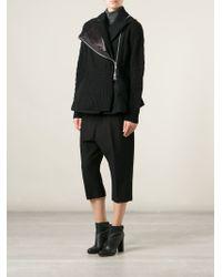 Sacai - Black Cable Knit Details Asymmetric Zip Jacket - Lyst