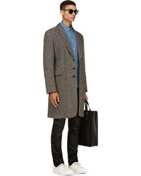 Ann Demeulemeester - Gray Grey Donegal Tweed Coat for Men - Lyst