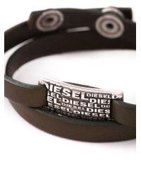 DIESEL - Brown Logo Plaque Bracelet for Men - Lyst