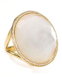 Ippolita   Metallic 18k Gold Rock Candy Large Lollipop Diamond Mother-of-pearl Ring   Lyst