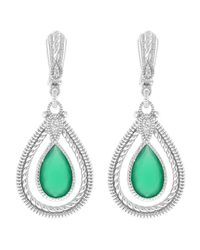 Judith Ripka | Green Chalcedony & White Sapphire Double Pear-Shaped Sterling Silver Marina Earrings | Lyst