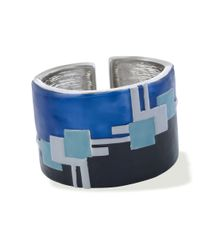 Kenneth Jay Lane | Blue Enamel Art Deco Cuff | Lyst