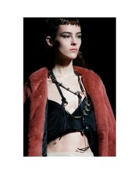 Miu Miu   Metallic Faceted Crystal Necklace with Leather Tie   Lyst