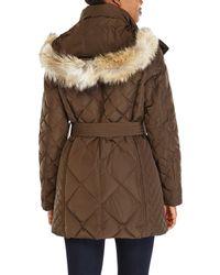 London Fog - Green Real Fur Trim Hooded Down Coat - Lyst