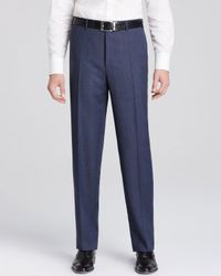 Canali - Blue Tick Weave Siena Trousers for Men - Lyst