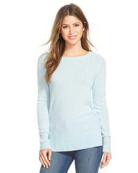 Halogen Blue Crewneck Lightweight Cashmere Sweater