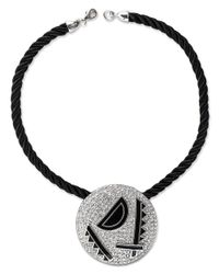 Kenneth Jay Lane | Metallic Black Enamel Art Deco Pendant | Lyst