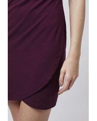 TOPSHOP - Purple Petite Wrap Ponte Bodycon Dress - Lyst