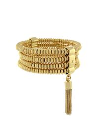 Vince Camuto   Metallic Haute Tassel Beaded Cuff Bracelet   Lyst