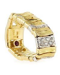 Roberto Coin - Metallic 18k Elephantina Flexible Diamond Ring Yellow Gold Size 65 - Lyst