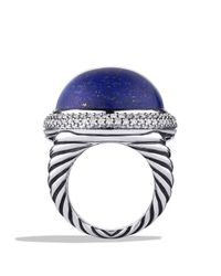 David Yurman - Blue Dy Signature Oval Ring with Lapis Lazuli Diamonds - Lyst