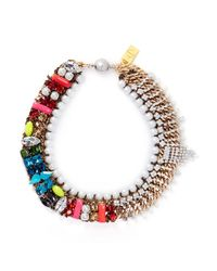 Assad Mounser | Multicolor 'Bette' Rhinestone Fringe Jewel Pearl Collar Necklace | Lyst