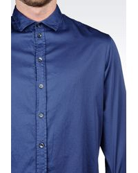 Armani | Blue Long Sleeve Shirt for Men | Lyst