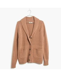 Madewell | Natural Shawl-collar Rib Cardigan Sweater | Lyst