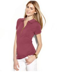 Michael Kors | Purple Michael Short-sleeve Ruched Polo Top | Lyst