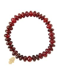 Sydney Evan | Red 8Mm Faceted Garnet Beaded Bracelet With 14K Yellow Gold/Diamond Small Hamsa Charm (Made To Order) | Lyst