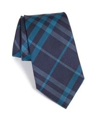 Burberry | Blue 'clinton' Check Silk Tie for Men | Lyst