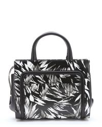 Jason Wu - Black And White Leather 'daphne 2' Tropical Print Convertible Tote - Lyst