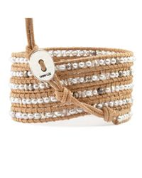 Chan Luu | Brown Grey Pearl And Crystal Wrap Bracelet On Beige Leather | Lyst