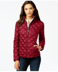 Tommy Hilfiger | Red Quilted Packable Down Puffer Coat | Lyst