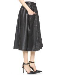 OAK - Harper Leather Skirt - Black - Lyst