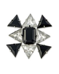 Kenneth Jay Lane | Metallic Crystal And Jet Stones Brooch | Lyst