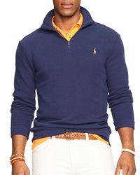 Polo Ralph Lauren | Blue Half-zip Pima Mockneck Pullover for Men | Lyst