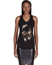 Alexander McQueen | Black Embellished Abstract Skull Tank Top | Lyst