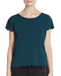 Saks Fifth Avenue | Blue Scalloped Top | Lyst