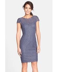Adrianna Papell | Blue Seam Detail Lace Cocktail Dress | Lyst