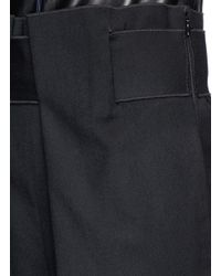 Ms Min - Black Paperbag Waist Wool Twill Pants - Lyst