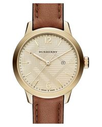 Burberry - Metallic Check Stamped Dial Leather Strap Watch - Lyst