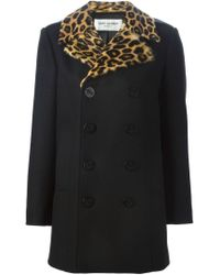 Saint Laurent - Black Fur Lapel Peacoat - Lyst