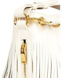 Saint Laurent - White Emmanuelle Small Fringed Leather Cross-Body Bag - Lyst