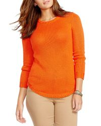 Lauren by Ralph Lauren | Orange Crewneck Sweater | Lyst