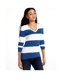 Tommy Hilfiger - Blue Longsleeve Striped Vneck Sweater - Lyst