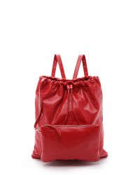 MM6 by Maison Martin Margiela | Red Drawstring Backpack - Black | Lyst