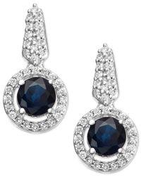 Macy's | Blue Sapphire (3/4 Ct. T.w.) And Diamond (1/5 Ct. T.w.) Drop Earrings In Sterling Silver | Lyst