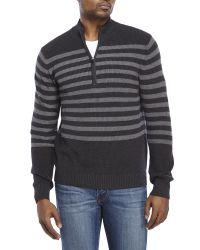 Izod | Black Striped Quarter-Zip Sweater for Men | Lyst