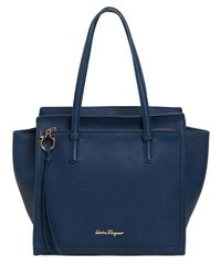 Ferragamo | Blue Medium Amy Grained Leather Tote Bag | Lyst