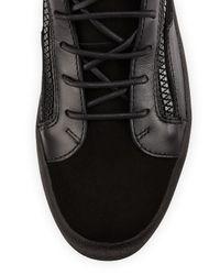 Giuseppe Zanotti - Black Men's Leather Mid-top Sneaker for Men - Lyst