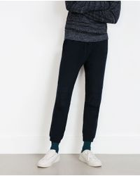 Zara | Blue Cotton Knit Trousers for Men | Lyst